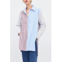 Stylish Colorblock Vertical Striped Printed Long Sleeve Split Side High Low Hem Longline Button Down Shirt