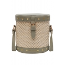New Fashion Rivet Embellishment Belt Buckle Colorblock Straw Crossbody Bucket Bag 17*18*10 CM