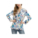 Summer Trendy Blue Leaf Pattern V-Neck Long Sleeve Relaxed Fit Casual Shirt Blouse