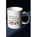 Funny Figure Letter LOVE Pattern White Porcelain Mug Cup