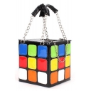 Designer Creative Rubik's Cube Shape Multi-Color Clutch Bag Handbag