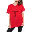 Cool Unique Cross Pattern Basic Round Neck Short Sleeve Cotton Loose Tee