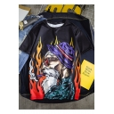 Summer Cool Fire Comic Character Pattern Round Neck Casual T-Shirt