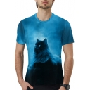 Blue Moon Cat Pattern Basic Round Neck Short Sleeve Regular Fit Unisex T-Shirt