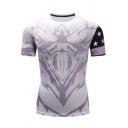 Mens USA Star Printed Basic Round Neck Short Sleeve Stretch Fit Training Slim T-Shirt