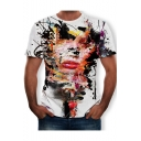 Summer Abstract Splash-Ink Figure Face Print Short Sleeve White Tee