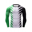 Unique Green Black White Spider Print Round Neck Long Sleeve Training Fitness Tight T-Shirt for Men
