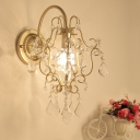 Bedroom Cafe Twist Shade Wall Light Metal 1 Head Elegant Style Gold Sconce Light with Clear Crystal