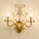 Metal Candle Wall Light with Crystal Deco 2 Lights Antique Style Sconce Light in Gold for Dining Room