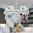 Cartoon Helicopter Ceiling Pendant 3/5 Lights Metal Chandeleir in Blue for Boys Bedroom