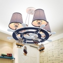 Nautical Style Rudder Chandelier with Plaid Shade Fabric 4 Lights Blue Pendant Light for Boys Bedroom