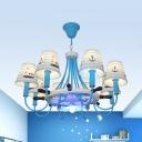 Blue Rudder Chandeleir Eight Lights Nautical Style Metal Hanging Light for Child Bedroom Hallway