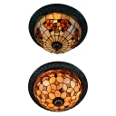 Art Glass Flower/Grid Flush Ceiling Light 12