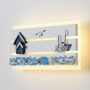 Sea View Wall Light Mediterranean Style Resin Third Gear/Warm Sconce Light in Blue for Living Room