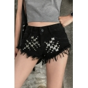 Womens Sexy Night Club Low Rise Studded Embellished Frayed Hem Hot Pants Denim Shorts