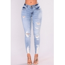 Womens Fashion Light Blue Destroyed Ripped Slim Fitted Denim Jeans