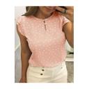 Summer Fashion Simple Polka Dot Printed Ruffle Sleeve Casual T-Shirt