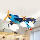 Cartoon Lovely Blue Pendant Light Propeller Airplane 4 Heads Wood Hanging Light for Child Bedroom