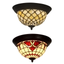 Traditional Tiffany Half-Globe Flush Mount Light with Baroque Patter/Bead Art Glass Ceiling Lamp in Beige for Bedroom