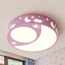 Blue/Pink/White LED Flushmount Light Night View Kids Metal Warm/White Lighting Ceiling Lamp for Kids Bedroom