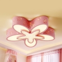 Blue/Pink/White Flower Flush Light Cartoon Metal LED Ceiling Lamp with Third Gear/White Lighting for Girls Bedroom