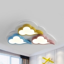 Metal Cloud LED Ceiling Lamp 3 Heads Macaron Loft Flush Ceiling Light with Warm/White Lighting for Game Room