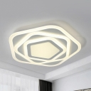 Contemporary Pentagon Flush Ceiling Light Acrylic Warm Yellow/White Ceiling Lamp in White for Study Room