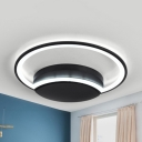 Acrylic Crescent LED Flush Mount Light Kindergarten Modern Style Third Gear/Warm/White Ceiling Fixture