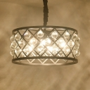 Iron Round Cage Hanging Lamp with Crystal Ball Kitchen 3 Lights Retro Loft Chandelier in Black