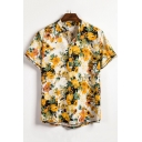 Mens Summer Chic Yellow Floral Printed Short Sleeve Loose Fit Shirt