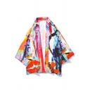 Ukiyo-e Style Trendy Colorful Tie Dye Three-Quarter Sleeve Open Front Casual Loose Kimono Blouse Shirt