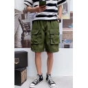 Summer Trendy Solid Color Flap Pocket Elastic Waist Casual Loose Cargo Shorts