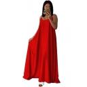 Womens New Stylish Solid Color Sleeveless Spaghetti Strap Floor Length Maxi Silk Beach Slip Dress