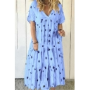 Womens Summer Fashion Floral Printed V-Neck Short Sleeve Casual Midi Pleated Swing Dress