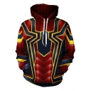 New Stylish Blue and Red Spider 3D Printed Long Sleeve Sport Pullover Drawstring Hoodie