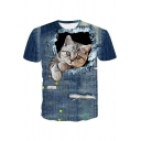 Unique Funny 3D Ripped Denim Cat Printed Round Neck Short Sleeve Blue T-Shirt