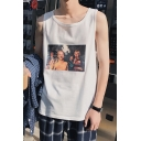 Guys Summer Street Style Cool Figure Print Round Neck Loose Fit Tank Top