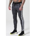 Fashion Plaid Pattern side-striped Zipper Embellishment Drawstring Waist Joggers Pencil Pants