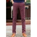 Men's Fashion Classic Simple Plain Slim Fit Business Casual Dress Pants