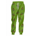 Funny Cartoon Frog Printed Drawstring Waist Green Polyester Casual Sport Sweatpants