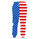 Hot Fashion America Flag Printed Drawstring Waist Blue and Red Polyester Jogger Sweatpants