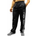 Simple Fashion Letter Printed Contrast Patched Drawstring Waist Loose Fit Casual Breathable Sport Sweatpants for Men