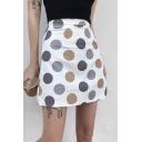 Girls Summer Sweet Polka Dot Printed White Mini A-Line Skirt