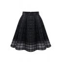 Girls Summer High Rise Simple Plain Mini Swing Organza Skirt