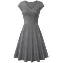 Fashion Simple Plain Surplice V-Neck Short Sleeve Midi A-Line Dress