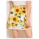 Womens Summer Stylish Yellow Sunflower Printed Mini A-Line Layered Skirt