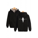 Cool Figure Letter Pattern Long Sleeve Zip Up Warm Thicken Hoodie