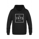Fashion Square Letter THE 1975 Printed Long Sleeve Regular Fitted Hoodie