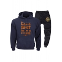 Popular Letter I SOLEMNLY SWEAR Printed Casual Hoodie with Sport Jogger Pants Two-Piece Set