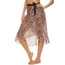 Trendy Khaki Leopard Printed Tied Waist Chiffon Beach Wrap Skirt